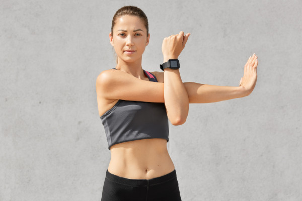 Women stretching her arms